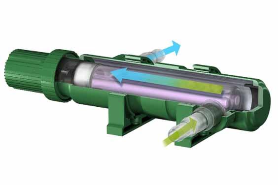 A cross-section of a TetraPond GreenFree UV sterilizer