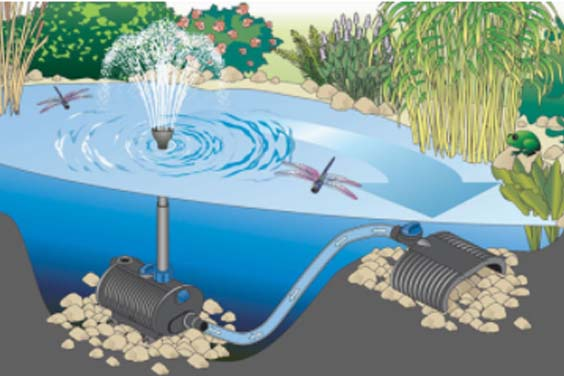 An illustration of the working of a pond pump system