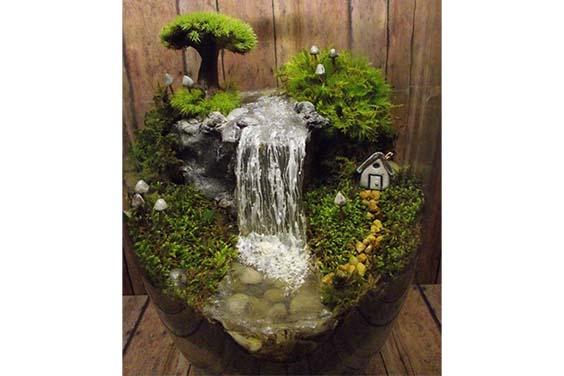 Rock waterfall indoor pond