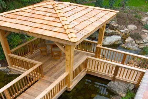 Wooden Deck Koi Pond